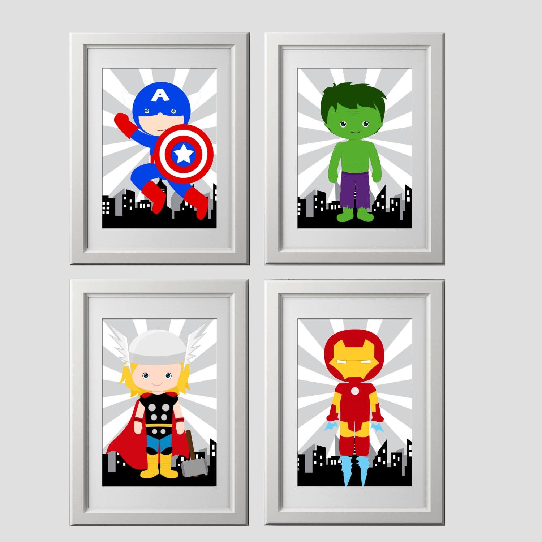 Superhero wall art prints bedroom decor 4 high quality super for Superhero wall art