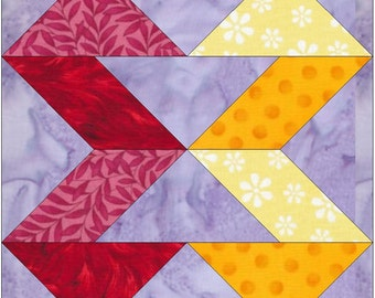 Ribbons Paper Piece Foundation Quilting Block Pattern