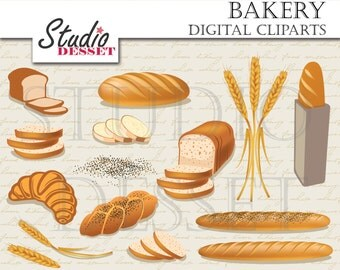 Bread Cliparts, Bakery Wheat, Croissant, Baguette, Digital Clip Art, Food Elements for Card Making, Scrapbooking Supplies C262
