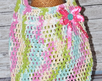 Tote - Pink, Blue, Green, Cream, and White - Crochet Bag