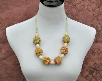 Breastfeeding Mom Necklace Teeething Jewelry Crochet Pink Green Yellow Orange Handmade Baby Shower Gifts Ready to Ship