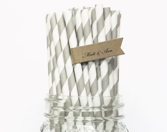 Grey Paper Straws, 25 Gray Striped Paper Straws, Wedding Table Setting, Baby Shower, Kids Birthday Party, Cake Pop Sticks Made in USA,