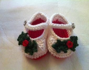 Christmas Baby Shoes, Christmas Mary Janes, Baby Booties, Baby Shoes, Infant Mary Janes, Mary Jane Slippers, Baby Slippers, Holiday Slippers