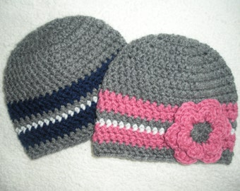 Crochet twin hat, twin baby hats, twin baby gift, boy girl twin newborn photo prop, 0-3 month twin gift, baby hats for twins, navy blue pink