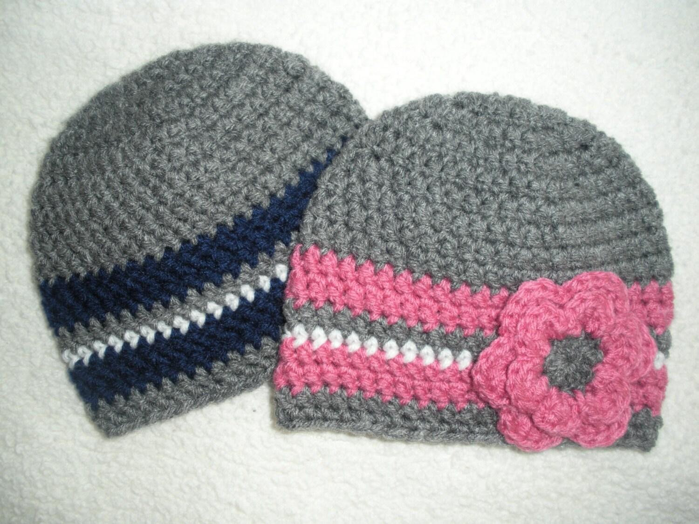 Crochet Hat Patterns For Twin Babies : Crochet twin hat twin baby hats twin baby gift boy girl