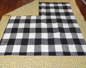 Yellow Polka Dots w/Plaid Cotton Print Flannel baby blanket