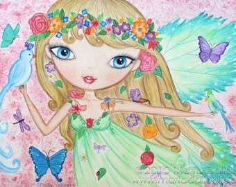 Fairy Art print. Girls room art decor. Nursery art. Watercolor fairy painting. Fairy whimsical illustration. Art for girls. Girls artwork.