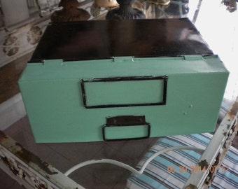 Vintage Industrial Office Bin, Metal Letter Bin, Salvaged Drawer, Aqua