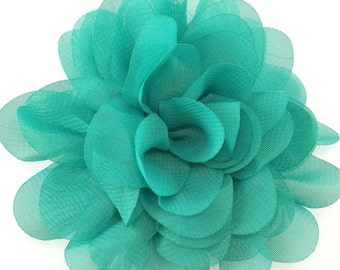 Sea green chiffon scalloped flower - Chiffon fabric flowers - wholesale hair bow supplies - Large hair clip flower