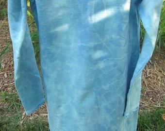 Indigo denim, custom made, Long sleeve dress, Shibori, multi-colored, 100% cotton, Size 8 Girls, ruffle edges at sleeves and hem.
