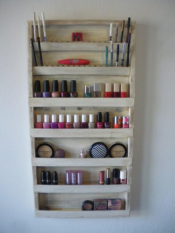 makeup storage on wall