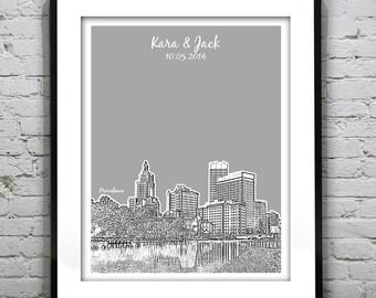 Providence RI Wedding Gift Guest Book Guestbook Poster Print -City Skyline Rhode Island RI
