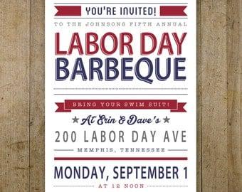 Labor Day Invitation Personalized Digital Printable