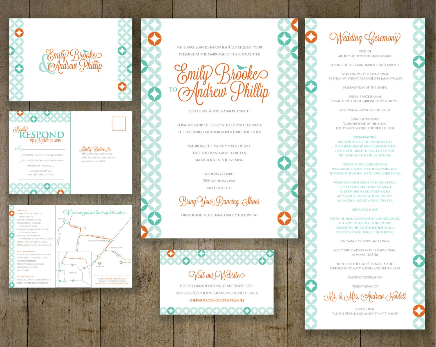 Coral And Teal Wedding Invitations: Geometric Wedding Invitations Teal And Coral RSVP By