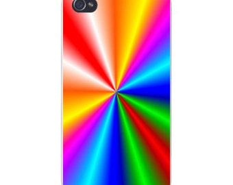 Apple iPhone Custom Case White Plastic Snap on - Color Spectrum Tunnel Vision Design 5497