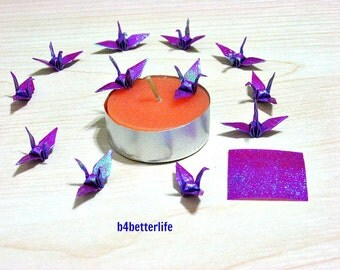 """100pcs Purple Color 1-inch Origami Cranes Hand-folded From 1""""x1"""" Square Paper. (TX paper series)."""