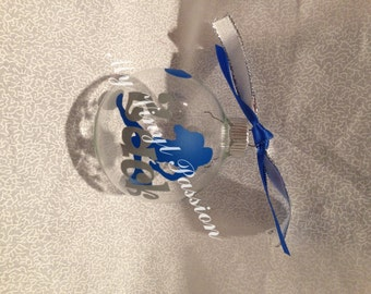 Personalized Customized Football Player Clear Glass Ornament decorated with coordinating ribbons