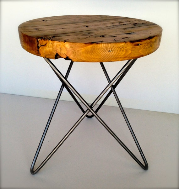 Round Wood Hairpin Coffee Table: Items Similar To Modern And Rustic Round Side Table From