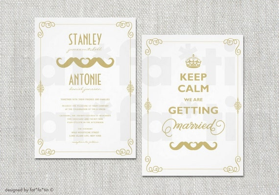 Gay Marriage Wedding Invitations: Keep Calm Gay Wedding Invitation Double Mustache Couple