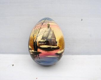 vintage wood egg handmade URSS  black decor