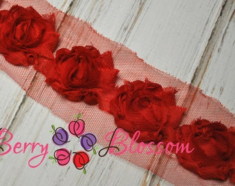"1.5"" Red Petite Shabby Flower - baby frayed shabby rose trim - little solid flowers - small shabby"