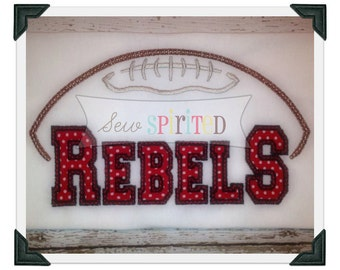 Rebels Football Applique Embroidery Design