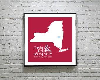 New York Wedding Gift Custom State Map Personalized Couple Art Personalized New York Map State Map Art Personalized