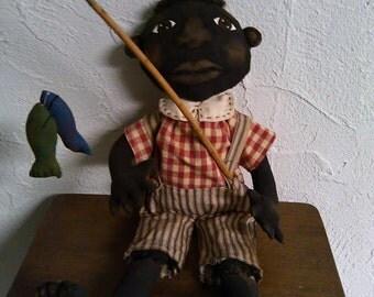 Primitive Black Folk Art Boy Doll and His Fish