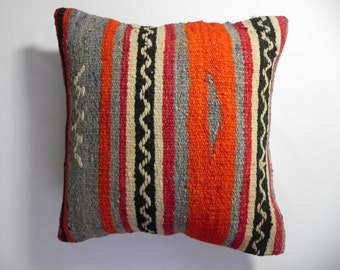 "Eco-frendly  Bohemian Home Decor, Handwoven Wool Turkish Kilim Pillow Cover,16""x16"",Decorative Kilim Pillow,Kilim Embroidery Pillow,"