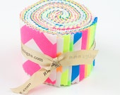 "Cotton Neon (Chevron Dots Solids) by Riley Blake Designs 2.5"" Rolie Polie Jelly Roll 100% Designer Cotton"