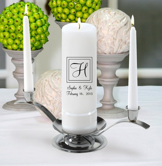 Personalized Wedding Unity Candle Set - Monogram Wedding Candle - Personalized Wedding Candles
