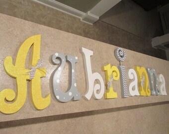 Hanging nursery letters, nursery letters, baby girl nursery letters, yellow, grey, white nursery decor, nursery wall letters