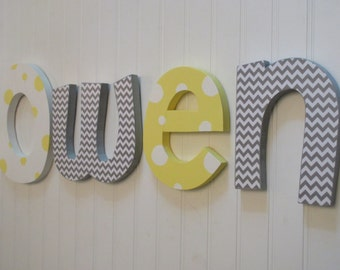 Hanging nursery letters, Yellow, Gray, White nursery letters, baby boy nursery letters, nursery decor, nursery wall letters