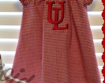 UL ragin Cajun monogrammed peasant dress
