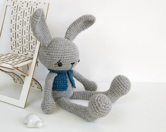 PATTERN: Long-Legged Bunny in a Vest - Amigurumi animal pattern - Crochet tutorial with photos - EN-028