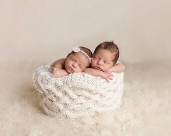 Celtic Basket Cover - PDF PATTERN - newborn baby toddler knit photo prop