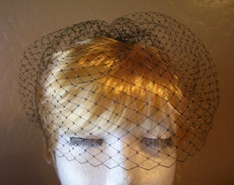 Black Birdcage Veil, Blusher, Short Wedding Veil, Vintage Inspired. Retro, 9 inch Netting, Top Comb, Also in White and Ivory