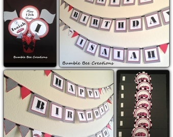 Race Car Party Decoration / Birthday Party / Party Decoration / Nascar / Banner / Napkin Rings / Centerpiece