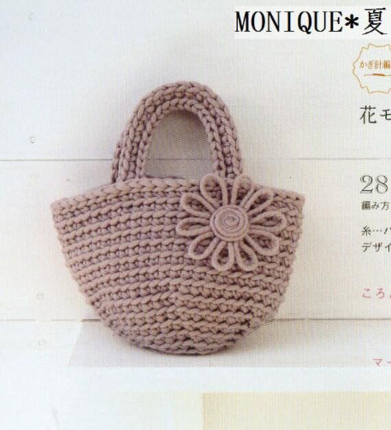 Crochet Patrón bolsa Tote con flores Crochet por DotsStripes