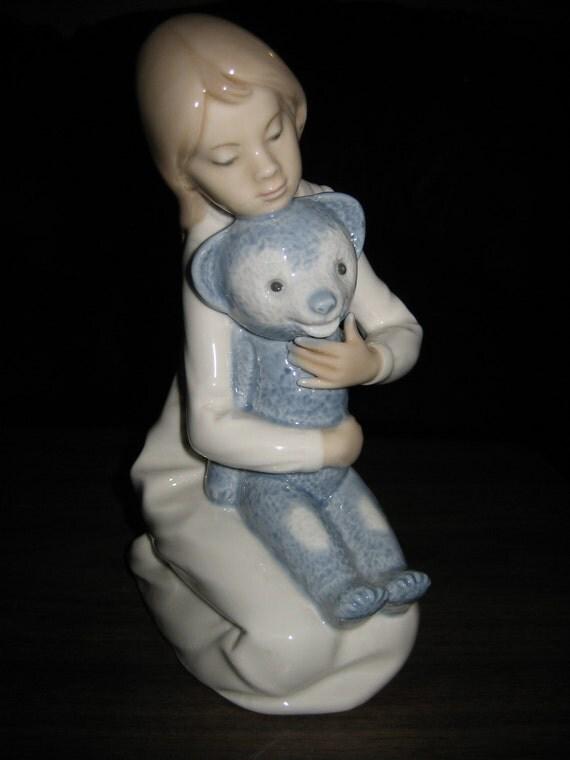 Lladro Nao Daisa Little Girl With Blue Teddy Bear By Classybag