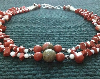 autumn 2: double strand stone bead necklace featuring red jasper, unakite, and white shell