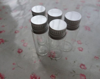 50pcs 16x40mm clear glass bottle vial charm mini glass bottle-glass bottle with silver color spiral aluminum caps--OC3068-50