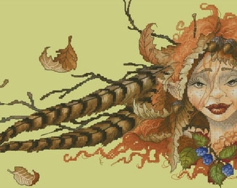 Cross Stitch Chart Autumn Fairy Pascal Moguerou Fantasy Art
