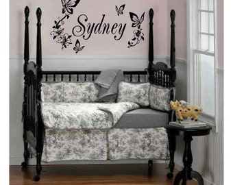 Personalized // Name // Butterflies // Flowers //Wall Decal // sticker // custom // kids // room // decor // FA03