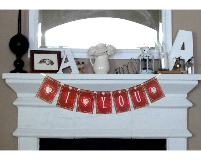 """I Love You OR I """"heart"""" You - large Valentines Day Banner - Download and Printable - DIY - Chalkboard style -Red and White"""