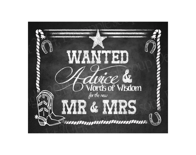 WESTERN Wedding ADVICE sign for Mr & Mrs - Chalkboard Style - DIY Printable - instant download