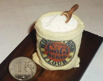 Dollhouse miniature flour, a sack of flour, a handful of flour 1:12