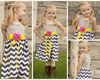 Girls Gray Chevron Spring Dress With  Attached Ribbon Sash LITTLE GIRLS DRESS