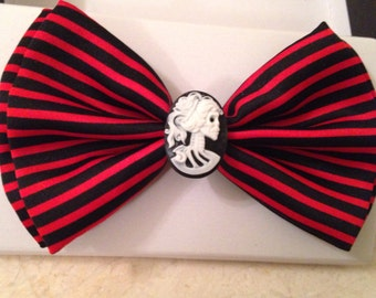 Black and Red Stripe Bow tie with Skull / Necktie