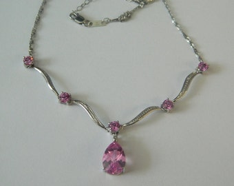 10K White Gold Pink Eye Necklace